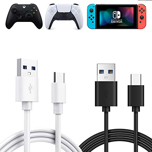[2 Pack] PS5 Controller Type C Charging Cable Fast Charge, Joso 10ft/3m 3A USB A to USB C Quick Data Sync Charger Cord for Playstation 5, Xbox Series S/X, Elite 2, Nintendo Switch & Pro, Smartphone