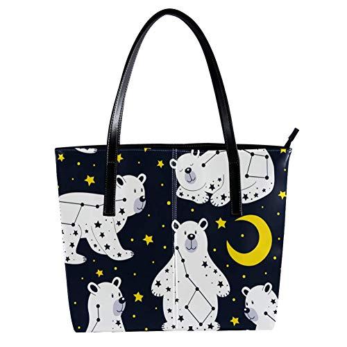 TIZORAX Constellation-Bär mit Mond und Sternen für Damen, PU-Leder, modische Handtasche mit Griff oben