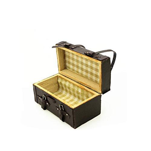 1:12 Puppenhaus Miniatur aus Leder aus Holz Trunk mit Riemen und Schnallen Minipuppen Zubehör Möbel Ausstattungen