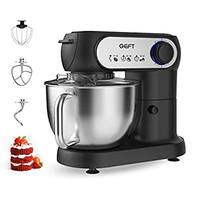 GEFT Stand Mixer-6-Speed Electric Food Mixer with 5.8QT Stainless Steel Mixing Bowl, Kitchen Mixer with 600W Motor, Dough Hook, Mixing Beater, Wire Whisk, Splash Guard, Tilt-Head, Onyx Black