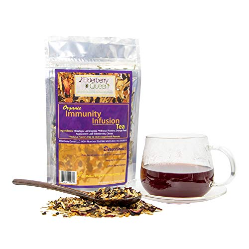 Immunity Infusion Loose Leaf Tea, Pure Natural Herbal Tea Blend with Elderberry, Hibiscus, and Peppermint (2 ounce)