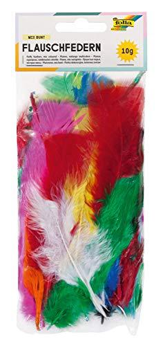 folia 53019 - Federn, Flauschfedern, Kunstfedern, 10 g, farbig sortiert in intensiven Farben- ideal für kreative Bastelarbeiten, Masken, Kostüme