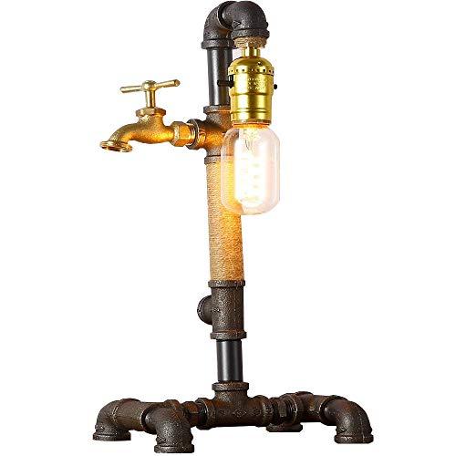 INJUICY Loft Retro Metall Eisen Edison Hanfseil Schreibtischlampen, Antike Jahrgang Steampunk Wasser Rohr Tischlampe für Café Kuechen Wohnzimmer Schlafzimmer Bar Balkon Nachttisch