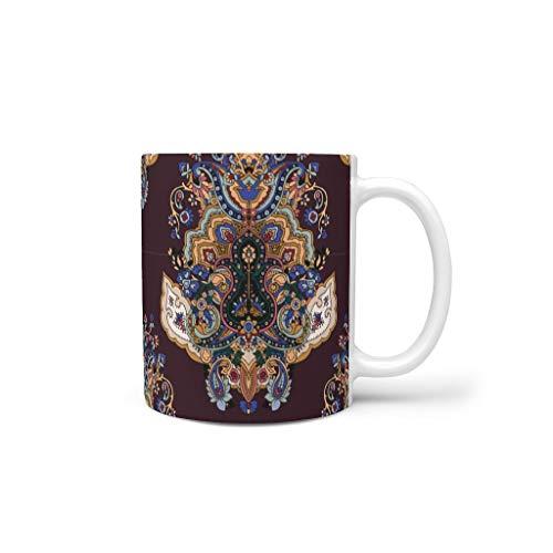 O5KFD&8 11 Oz Mandala Mischen Müsli Tassen mit Griff Porzellan Funny Tassen - Mandala Mädchen, Anzug für Restaurant verwenden White 330ml