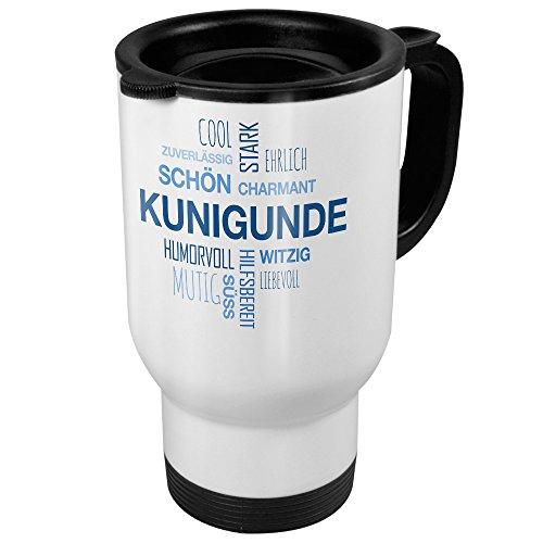 printplanet Thermobecher weiß mit Namen Kunigunde - Motiv Positive Eigenschaften (Tag Cloud) - Coffee to Go Becher, Thermo-Tasse