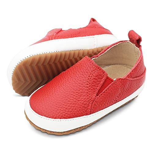 Dotty Fish Sportowe skórzane buty dla dzieci, dla chłopców i dziewczynek Slip On buty sportowe Buty do nauki chodzenia. Marine/srebrne/różowe Slip On buty dziecięce antypoślizgowe (rozmiar 18,5-24), czerwony - czerwony - 22.5 EU