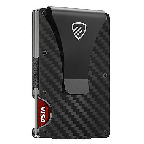 RUNBOX RFID Carbon Fiber Wallets for Men-Minimalist Slim Credit Card Holder&Metal Money Clip Wallet