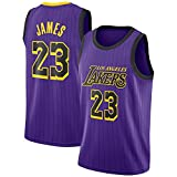 TPPHD Jerseys de Baloncesto para Hombre, NBA 2021 Ángeles Lakers # 23 Lebron James Classic Camiseta, Bordado Ventilador Resistente al Desgaste Transpirable Vestido sin Mangas,Púrpura,L