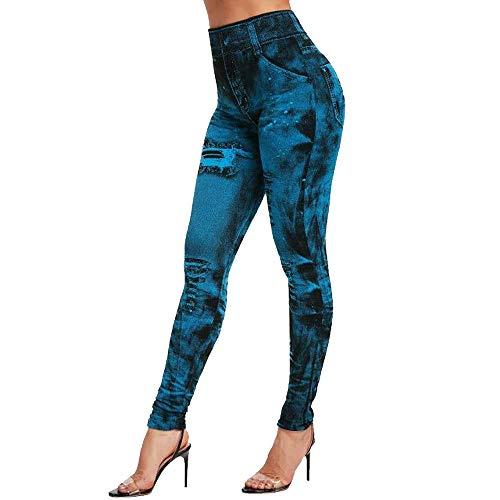 Vertvie Damen Treggings Jeggings Leggings Jeans Look Skinny Hose Hohe Taile Tights Druck Stretch Freizeithose(Blau, M)
