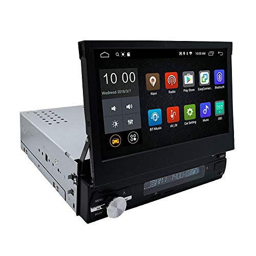 YODY Android 9.0 Single Din Car Stereo 7 Inch Touch Screen Flip Out Car Radio Support Bluetooth WiFi GPS Navigation Mirror Link AM/FM OBD USB SD AUX with Backup Camera and External Microphone