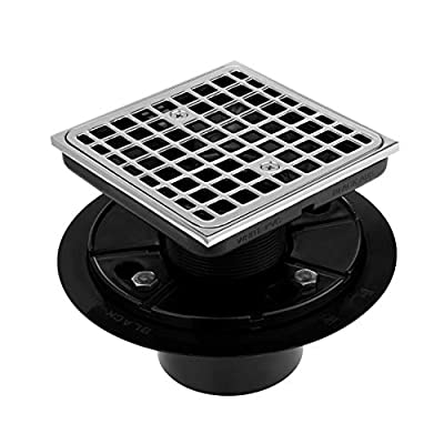 "Square Design Tile-In Floor Shower Drain, ABS Adjustable Shower Drain Base,Chrome Plated Lower Drain Body Fit 2"" or 3"",Hair Strainer,For Kitchen,Bathroom"