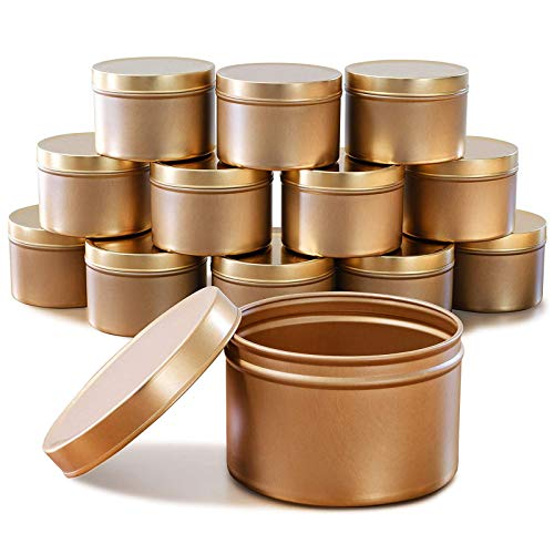 Rifuli Candle Containers 12 Pack 8 ozs Empty Candle Jars with Lids 3-Inch Seamless Decorative Gold Metal for DIY Candle Making Arts Crafts, Storage