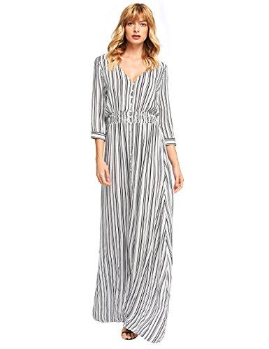 Milumia Women's Button Up Split Floral Print Flowy Party Maxi Dress X-Large Black and White