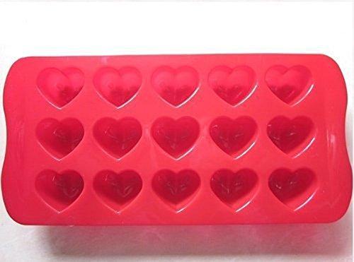 Creativo 15-Cuore della torta del silicone del vassoio della muffa del cioccolato (Red)