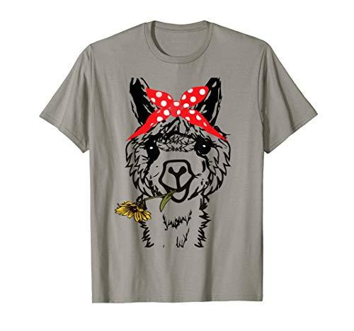 Women's Llama Bandana - Alpaca Llama Animal Graphics Funny T-Shirt
