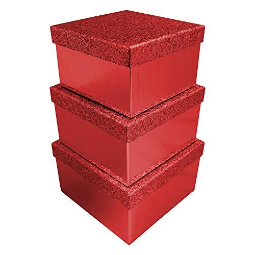 Clairefontaine X-27978-BXC - Set di 3 scatole quadrate glitterate (18x18x10,8 cm + 20x12 cm + 22 x 22 x 13,2 cm), colore: Rosso