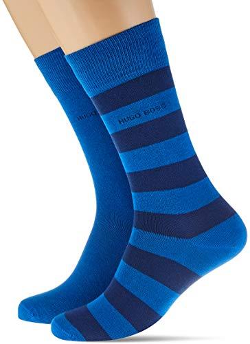 BOSS Herren 2P BlockStripe Col C Socken, Open Blue476, 43/46 (2er Pack)