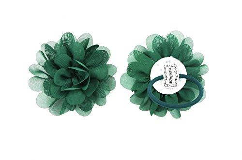 PrettyBoutique Girls Kids Women Chiffon Flower Hair Band Ponio Elastic Ponytail Bobble Accessories 7cm Dark Green