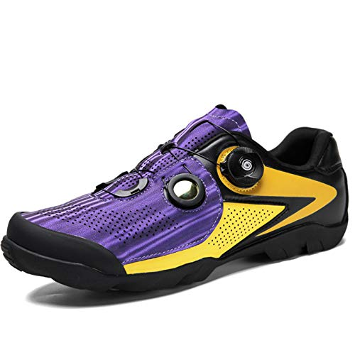 Cool-CZQ Special Cycling Shoes Road Mountain Men's and Women's Leisure Bicycles No Lock Shoes Hard-soled Sports Equipment (4 UK,Purple)