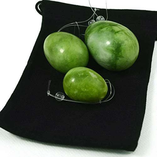 Vv8oo Massage Jade Egg 3PCS Natural Stone Ball Upgraded Healing Yoga Exercise Pelvic Muscles Green Beads(Green)