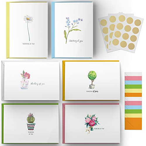 Dessie 30 Thinking of You Cards With Envelopes. 30 4x6 Inch Note Cards with Envelopes - Blank Inside with 6 Unique Floral Designs. White & Colorful Envelopes and Gold Seals In Sturdy Storage Box