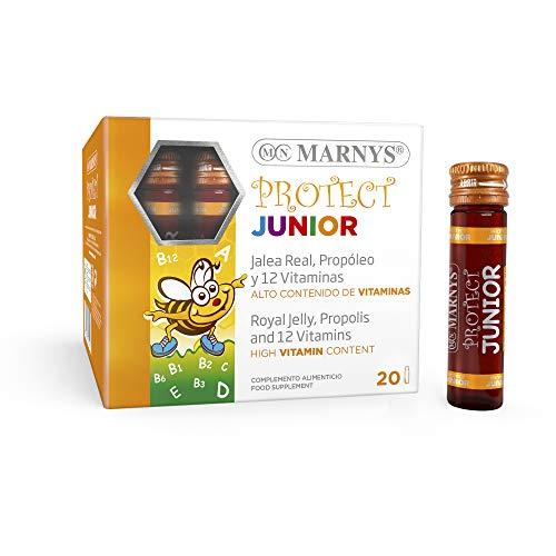 Marnys Protect Junior - Jalea Real, Propóleo y 12 vitaminas - Para las Defensas en Niños y Adolescentes - Sabor a Frutas del Bosque - 20 Viales Bebibles 395 g