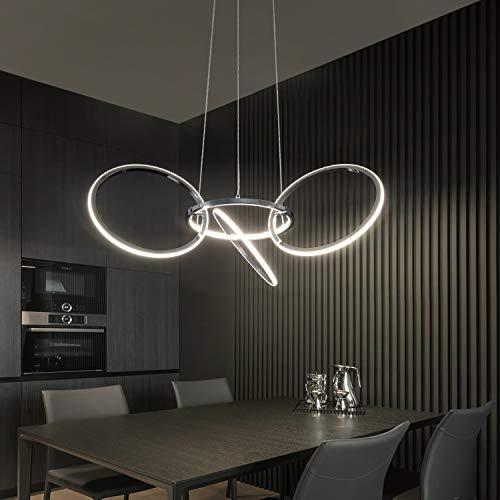 ZMH Moderne LED Pendelleuchte esstisch 38W 4000K Led 4-Ringe Drehbar Hängeleuchte aus Metall Wohnzimmer Deckenleuchte Schlafzimmer Höhenverstehbar Hängelampe Kronleuchter