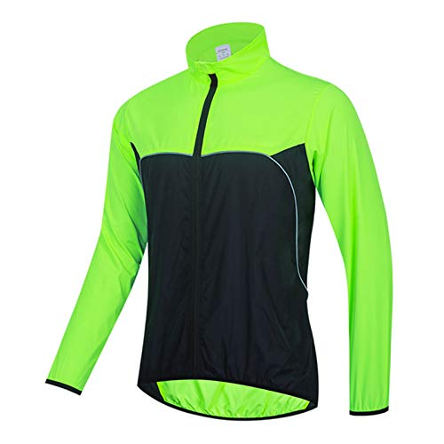 Chaqueta de Ciclismo Ligera, Jersey de Protección Solar para Hombre, Impermeable para Motocicleta, Resistente al Viento, Reflectante Softshell, Prendas Exteriores para Correr, Negro,L