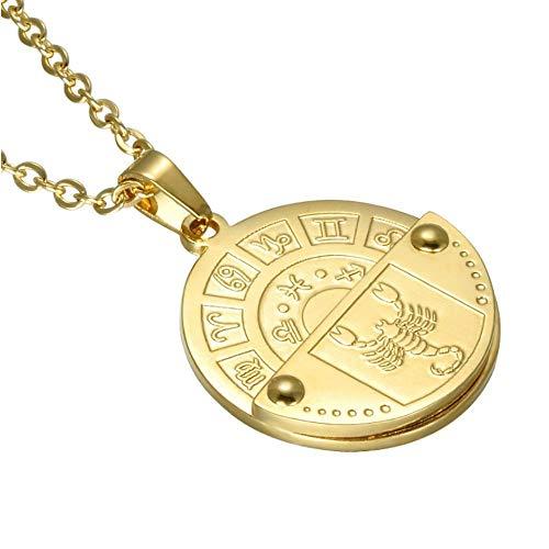 N / C Roman Mythology Twelve Constellation Medal Pendant Necklace Constellation Symbol Necklace Ornament