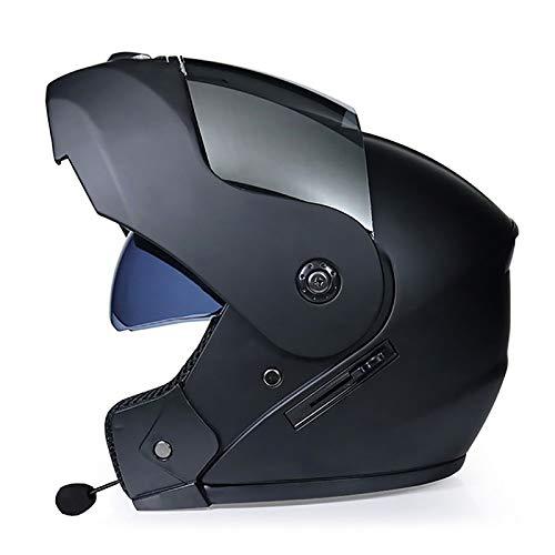 HZIH Bluetooth Casco Moto Casco Modular,Casco de Moto Modular Integral con Anti-Fog Doble Visera Motocicleta,para Cruceros Locomotora de Ciclomotor Chopper,ECE Homologado H,XL(60~61CM)