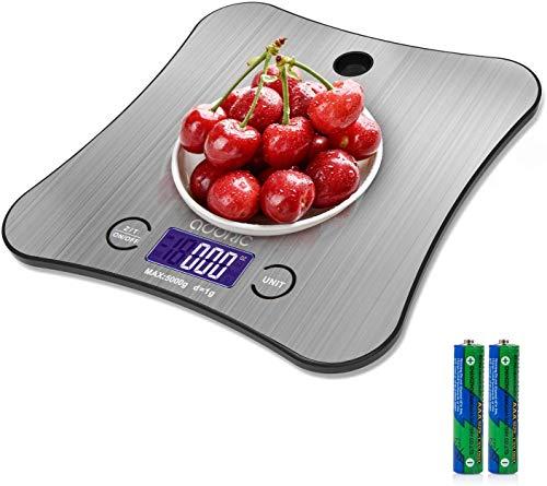 ADORIC Elektronische Küchenwaage, Präzisionswaage, 5 kg/1 g, Edelstahl, Touchscreen, LCD-Display, Schmetterlings-Form