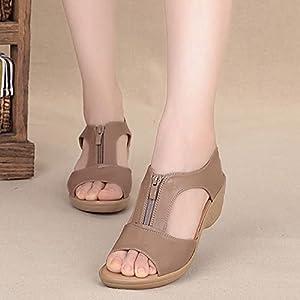 DZQQ 2021 Sandalias de Verano para Mujer Sandalias de cuña Sandalias de Talla Grande Zapatos Planos para Mujer Sandalias para Mujer Sandalias Romanas Sandalias