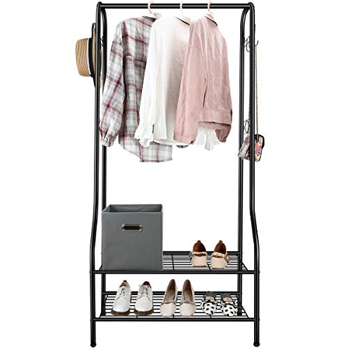 TomCare Clothes Rack Clothing Rack Garment Rack, 2-Tier Storage Shelves Shoe Bench Organizer Commercial Grade Clothes Hanging Rack with 6 Hooks Coat Rack for Home Office Entryway Bedroom Metal Black…