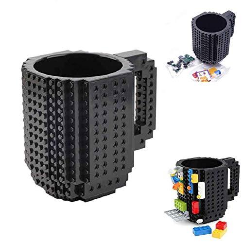 Build-On Brick Mug - 12oz Cola Coffee Brick Mug Blocks Mug Cup Build on Brick Mug building bricks Block Coffee Mug DIY Building Blocks Plastic Mug For Kids Children Coco Cola Pepsi Drinking Lego