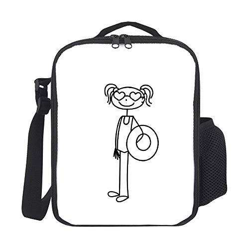 Bolsas de almuerzo aisladas para niños, con soporte para botellas en la playa, color negro, gran lonchera para hombres, adultos, reutilizable, para el trabajo, escuela, picnic