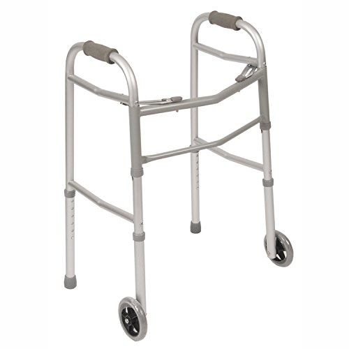 PCP Mobility & Homecare Dual Release Adjustable Lightweight Standard Walker with Wheels and Ski's