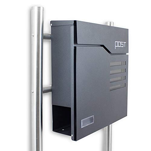 BITUXX® Freistehender Design Standbriefkastenbriefkasten Briefkastenanlage Hausbriefkasten Postkasten mit Zeitungsfach 4 Sichtfenster Namensschild Anthrazit Graphit Optik
