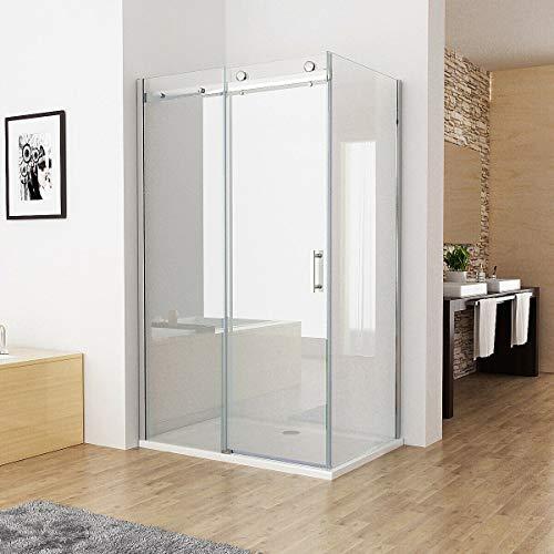Duschkabine 140 x 90 cm Eckig Dusche Schiebetür Duschwand mit 8mm NANO ESG Glas 195
