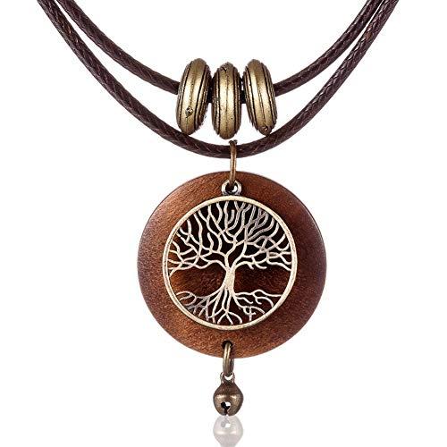 MENCNKI Retro Mujer Collares Pendientes de Cuero de Madera árbol de la Vida Gargantillas Collares Accesorios joyería Collar de Las señoras
