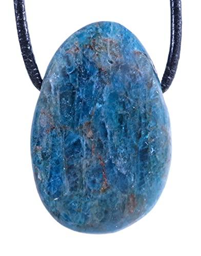 Lebensquelle Plus Ciondolo a goccia in Apatite, pietra tamburo forata con cinturino in pelle, ciondolo con gemma di alta qualità