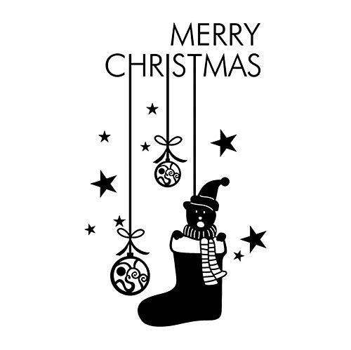 Zwarte Schoenen Sneeuwman Hanger Kleine Sneeuwbal Sterren Letters Verwijderbare Muurstickers Familie Shop Raam Woonkamer Slaapkamer Kerstcadeaus 30 * 60cm