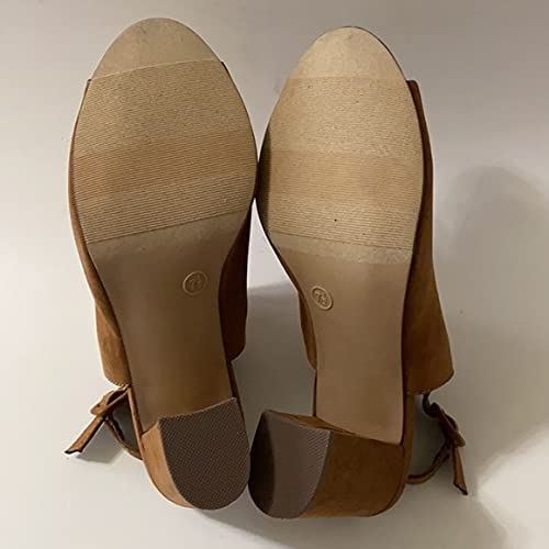 Nib New Material Girl Cognac Sandal 7.5 M Women's Shoes Brown Suede Heels Heeled Pumps Belt Fashion Casual Party Office Cocktail Summer Spring Fall