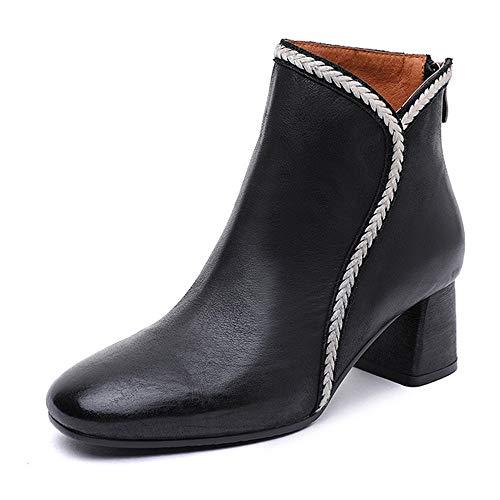 DENGSHENG SHOPS Retro Leder High Heel Short Tube Damen Stiefel Thick Heel Schuhe Fashion Wild Simple Damenschuhe