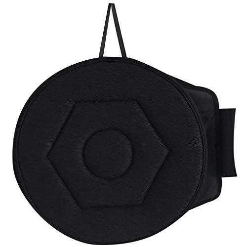 Anjeotn 360°Rotating Car Seat Round Pillows Stool Cushions Chair Office Pad, Rotatable Memory Foam, Terrace Home Office Sofa Auxiliary Seat Cushion (Black)