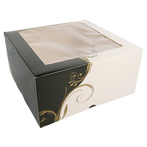 García de Pou 204.71 Lot de 50 boîtes à pâtisserie avec fenêtre 275 g/m² 24 x 24 x 12 cm Blanc