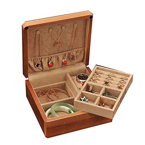 GYMEIJYG Caja de Reloj, Algodón Interior de Madera Maciza Casa Sencilla, Ligero y portátil Pies Transparentes Piezas de Hardware, 2 Colores (Color : Brown-A, Size : 18X18X8.5cm)