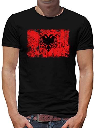TShirt-People Albanien Vintage Flagge Fahne T-Shirt Herren L Schwarz