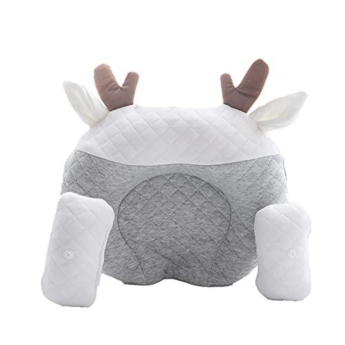 Soapow Cabeza del bebé que forma la prevención de cabeza plana de la corrección natural de la cabeza de la almohada de la almohada del látex para los recién nacidos
