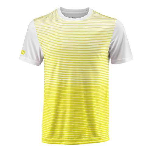 Wilson Herren Striped Crew M Team, Safety Yellow/White, S, WRA769705SM