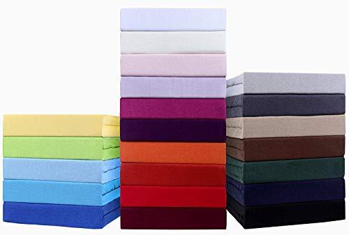 Niceprice WASSERBETTEN und BOXSPRINGBETTEN Spannbetttuch, Spannbettlaken in Jersey 200x220 + 40cm Steghöhe große Farbauswahl (200 x 220 cm, weiß)